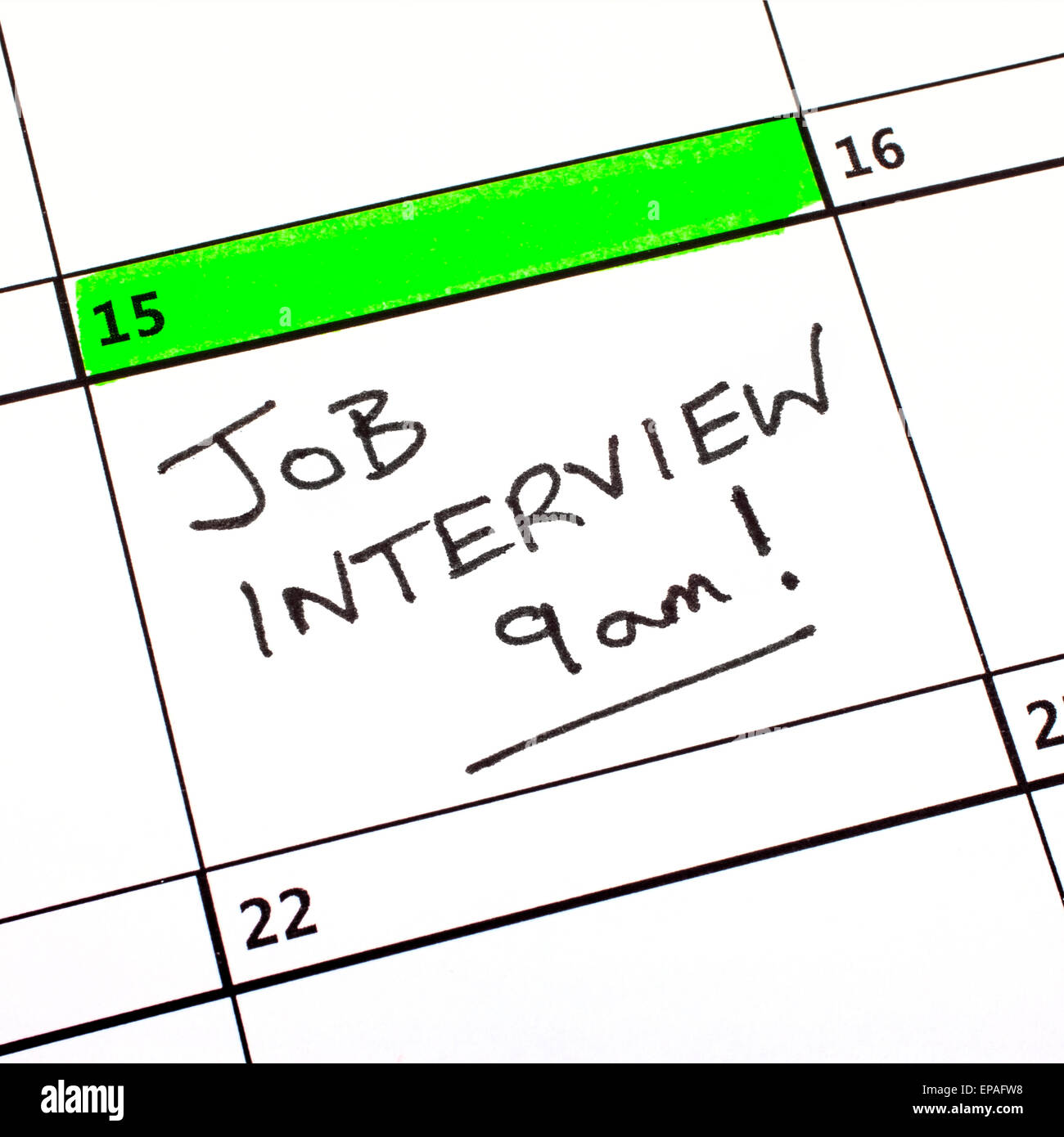 A Job Interview Date written on a Calendar. - Stock Image
