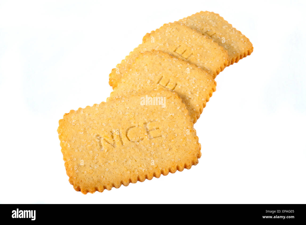 Nice Biscuits over a white background. - Stock Image
