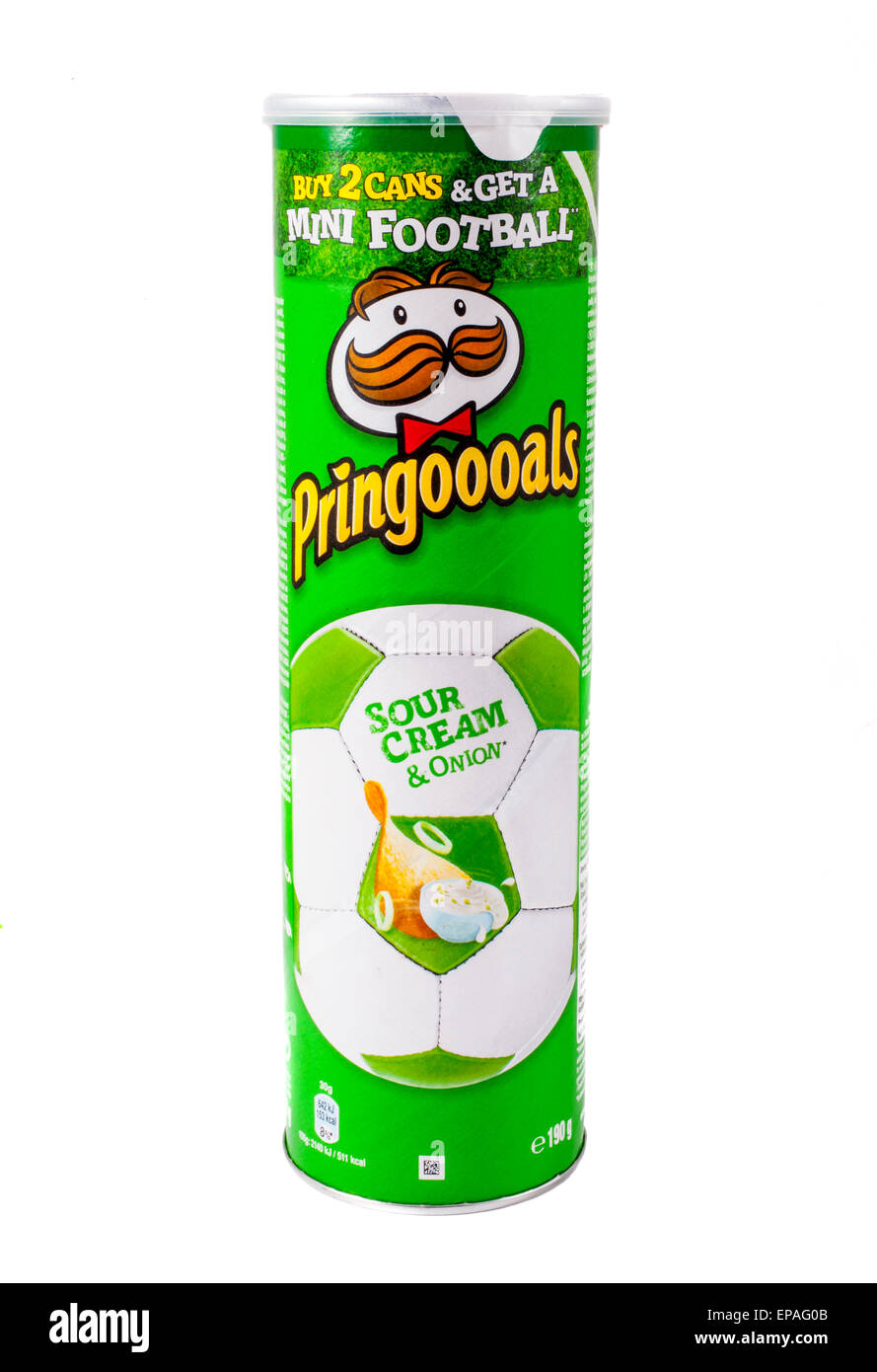 LONDON, UK - MAY 7TH 2015: An unopened tube of Sour Cream and Onion Pringles over a plain white background. - Stock Image