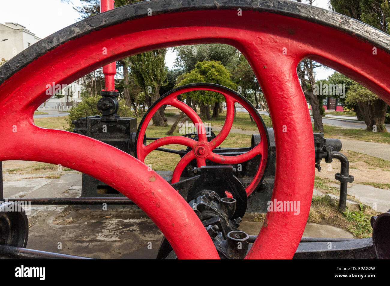 detail of obsolete steam powered pumping machine, Punta Arenas, Chile - Stock Image