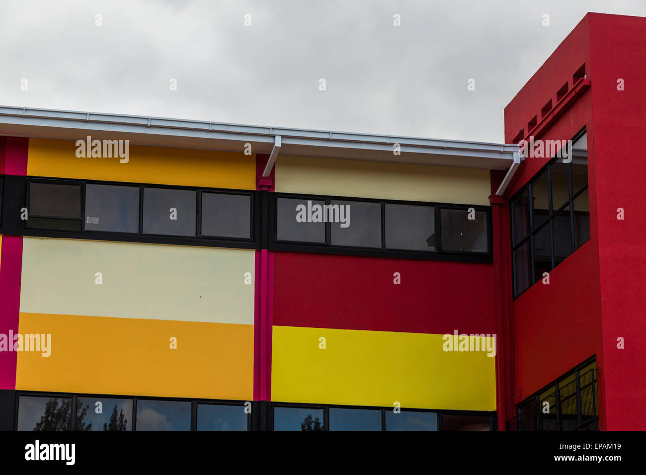 detail of brightly coloured school facade, Punta Arenas,, Chile Stock Photo