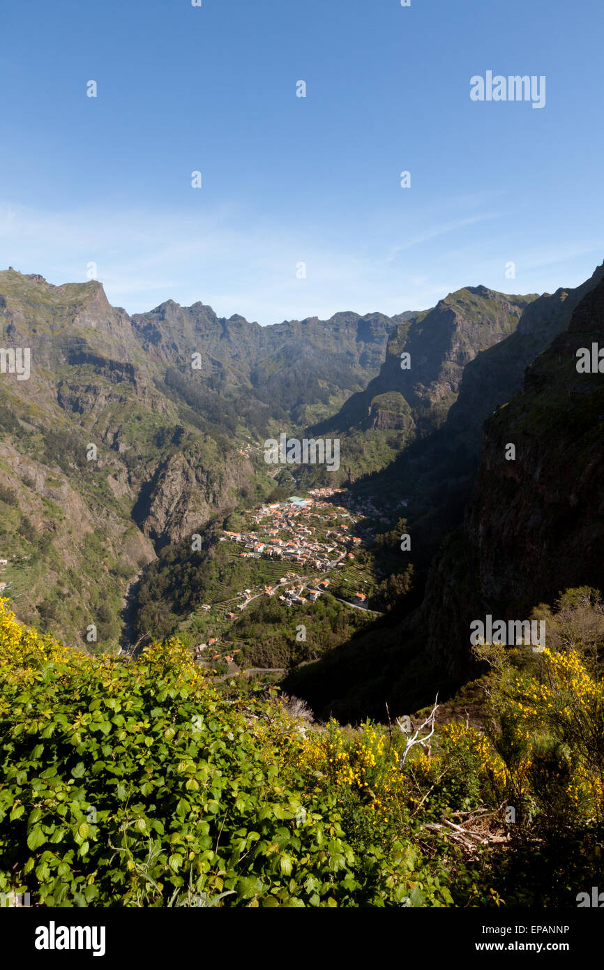 View of Nuns Valley, an isolated valley in the mountainous interior of Madeira, Europe - Stock Image