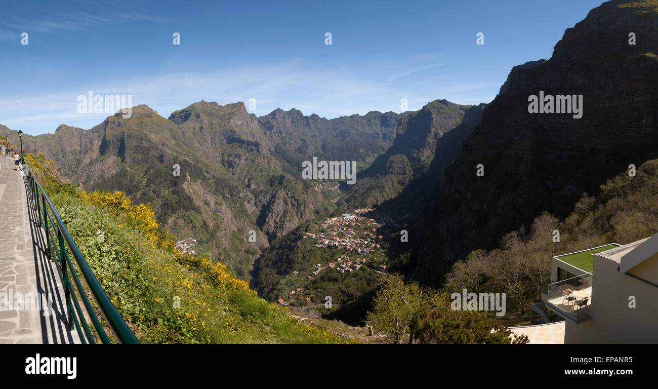 Panorama of Nuns Valley, or Curral das Freiras, an isolated valley in the mountainous interior of Madeira island, - Stock Image
