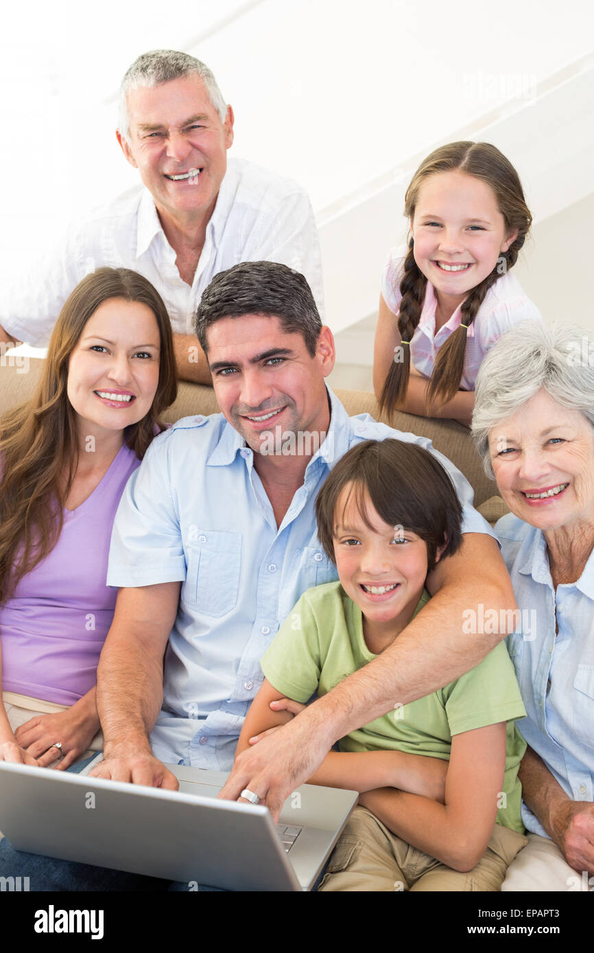 Loving multigeneration family spending leisure time - Stock Image