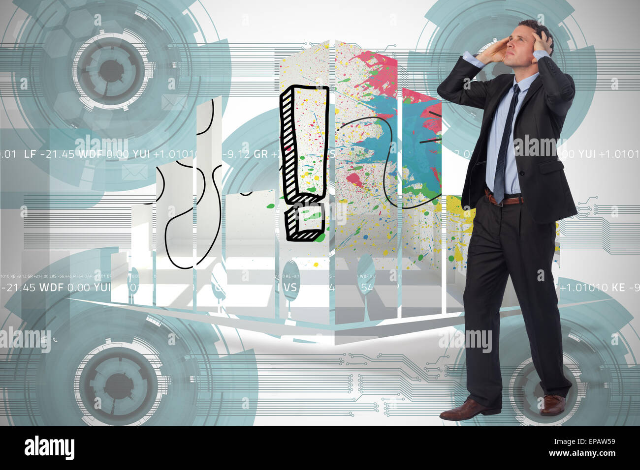 Composite image of stressed businessman with hands on head Stock Photo