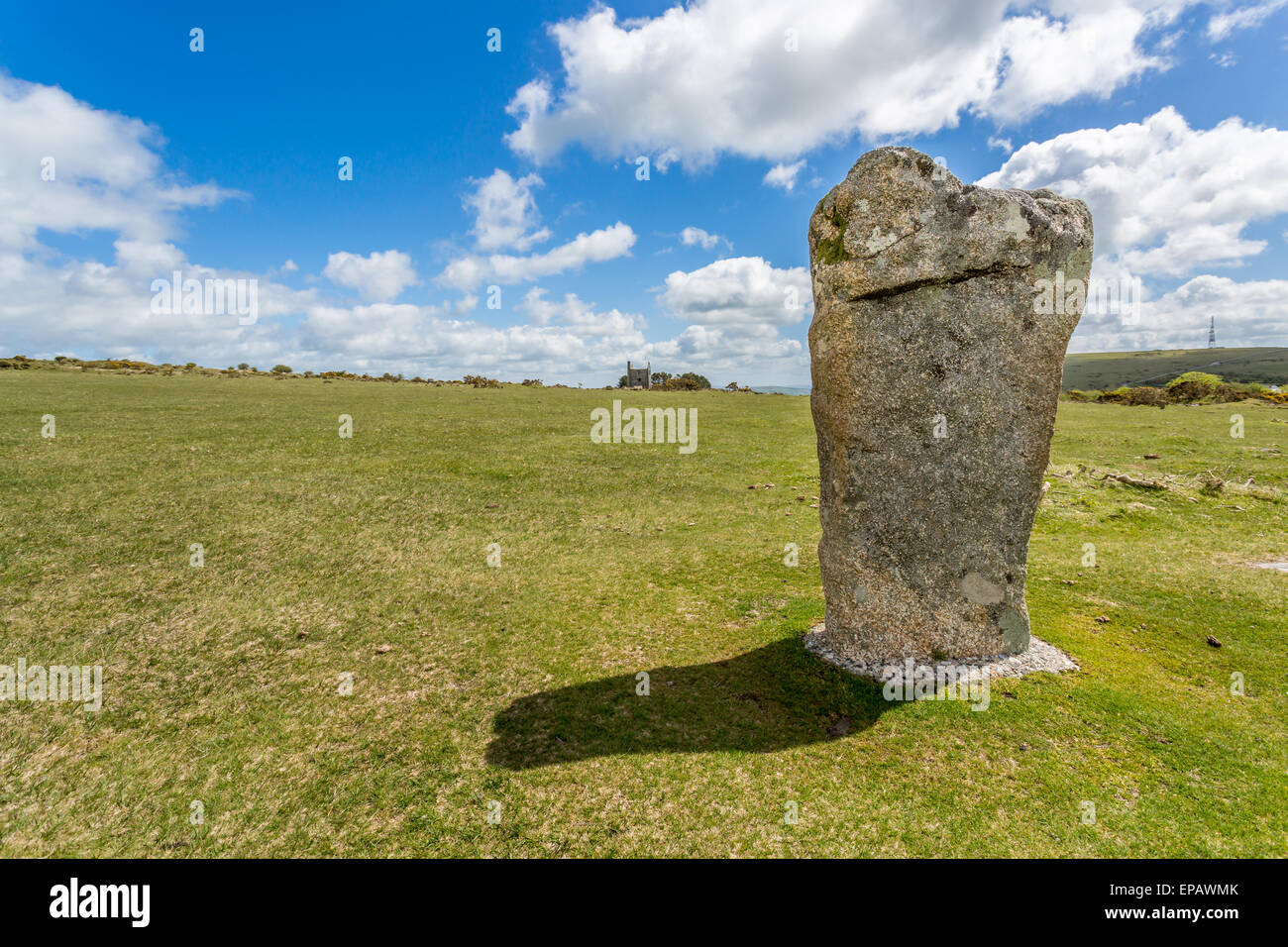 Stone cirlce on bodmin moor called the The Hurlers near minions in cornwall england uk - Stock Image