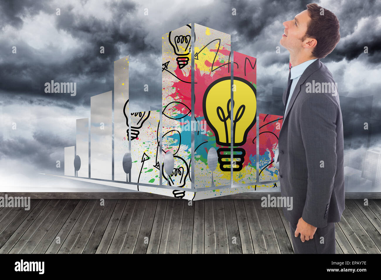 Composite image of cheerful handsome businessman standing Stock Photo