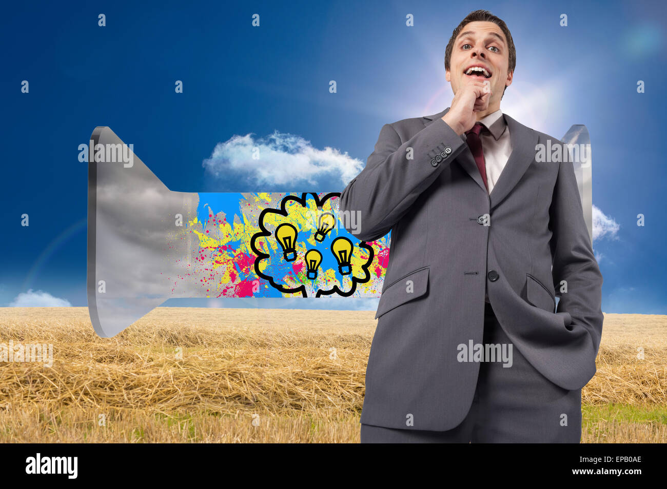 Composite image of thoughtful businessman with hand on chin Stock Photo