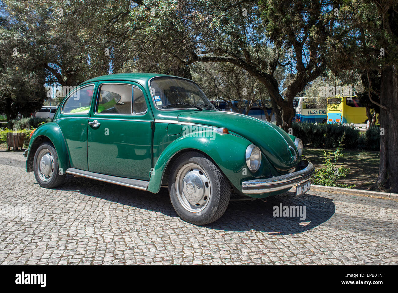 green VW Beetle car - Stock Image
