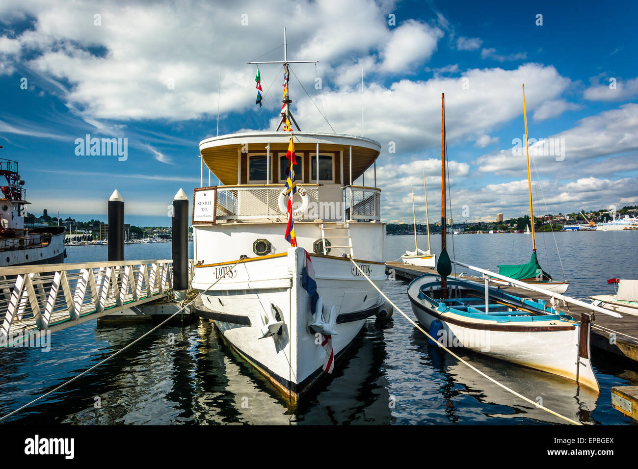 Boats docked at Lake Union, in Seattle, Washington. - Stock Image