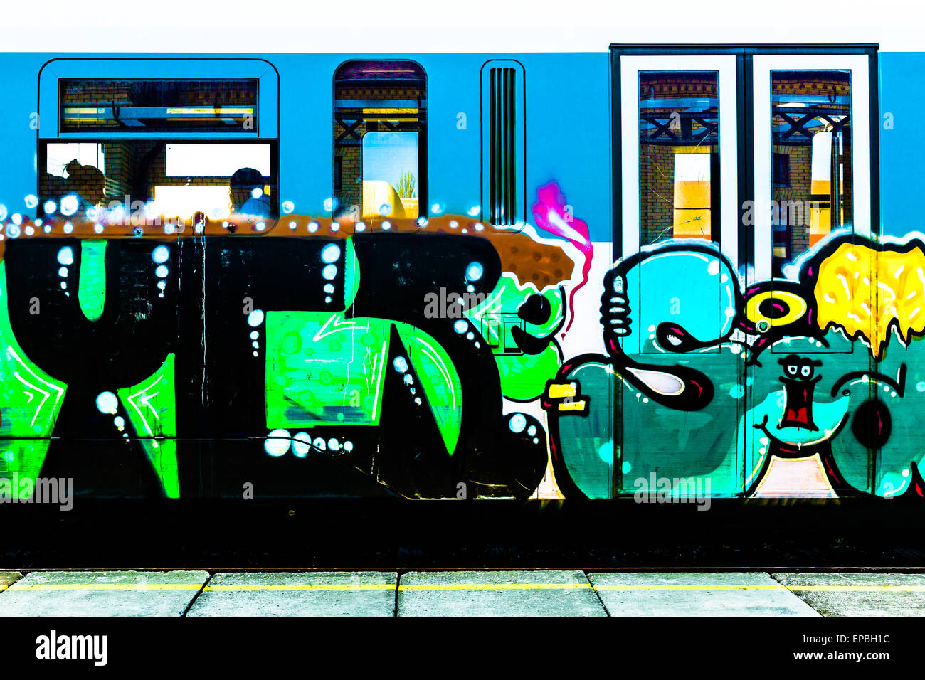 Graffiti on the side of a Serbian train at Vrsac station - Stock Image