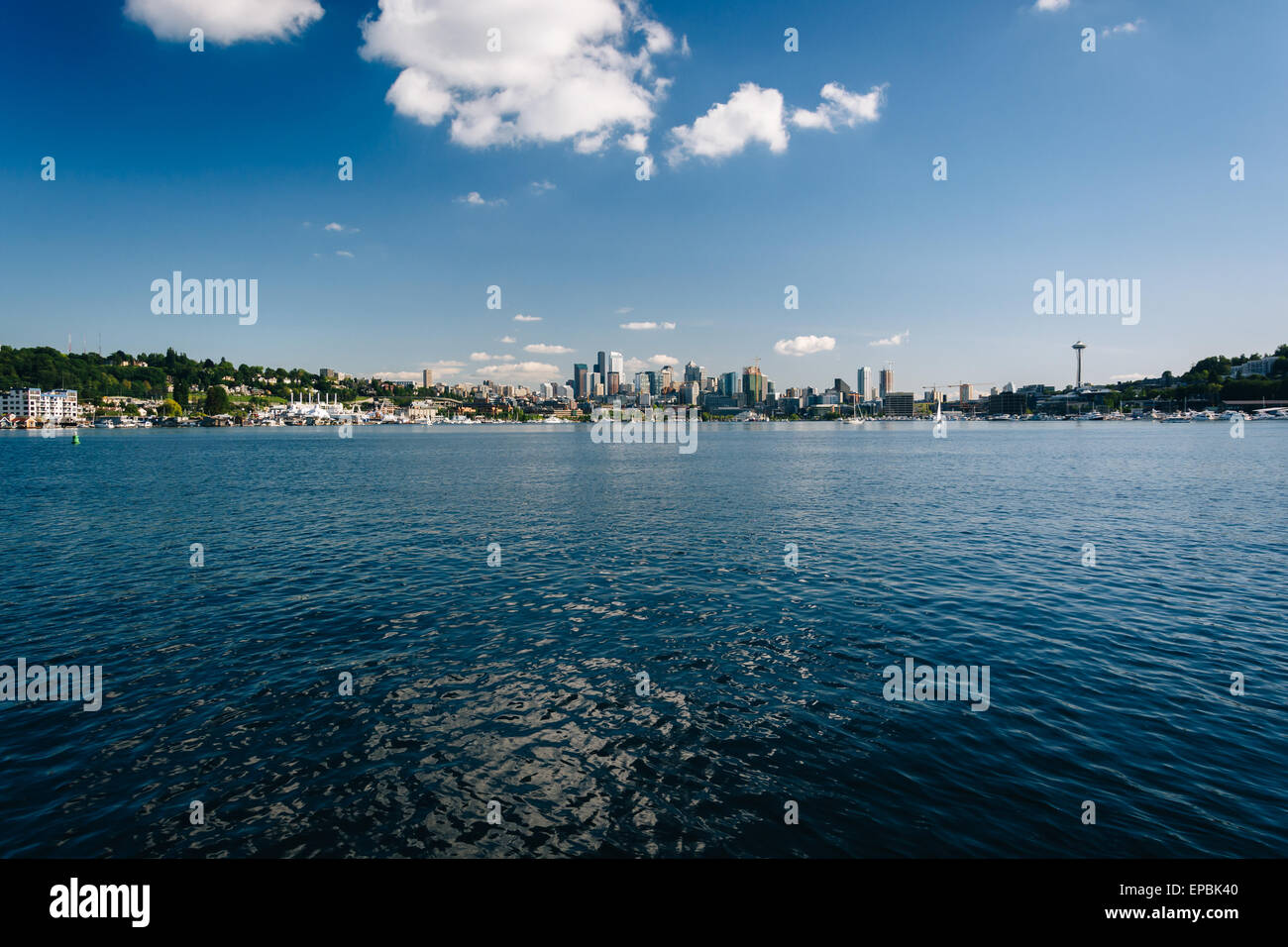 Lake Union and view of the skyline in Seattle, Washington. - Stock Image