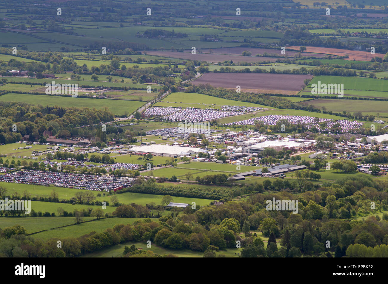 View over the RHS Malvern Spring Festival at the Three Counties Showground, Worcestershire, England, UK - Stock Image