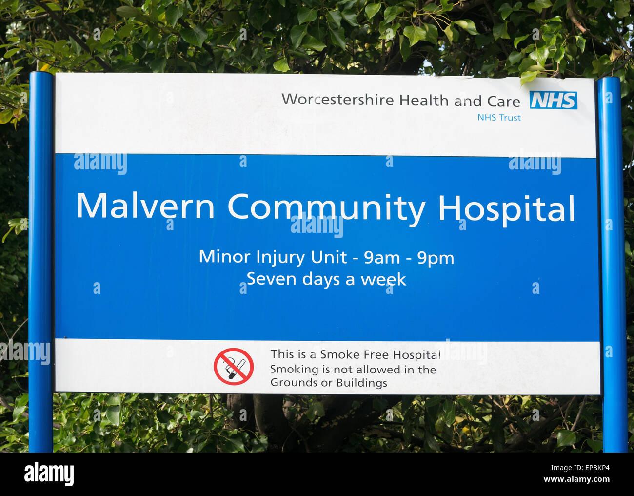 Sign for Malvern community hospital , Worcestershire, England, UK - Stock Image