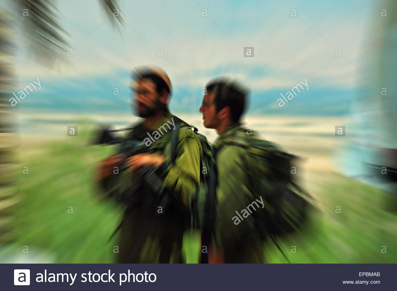 Israeli Border Patrol, Westbank, Israel. Editorial use only. - Stock Image