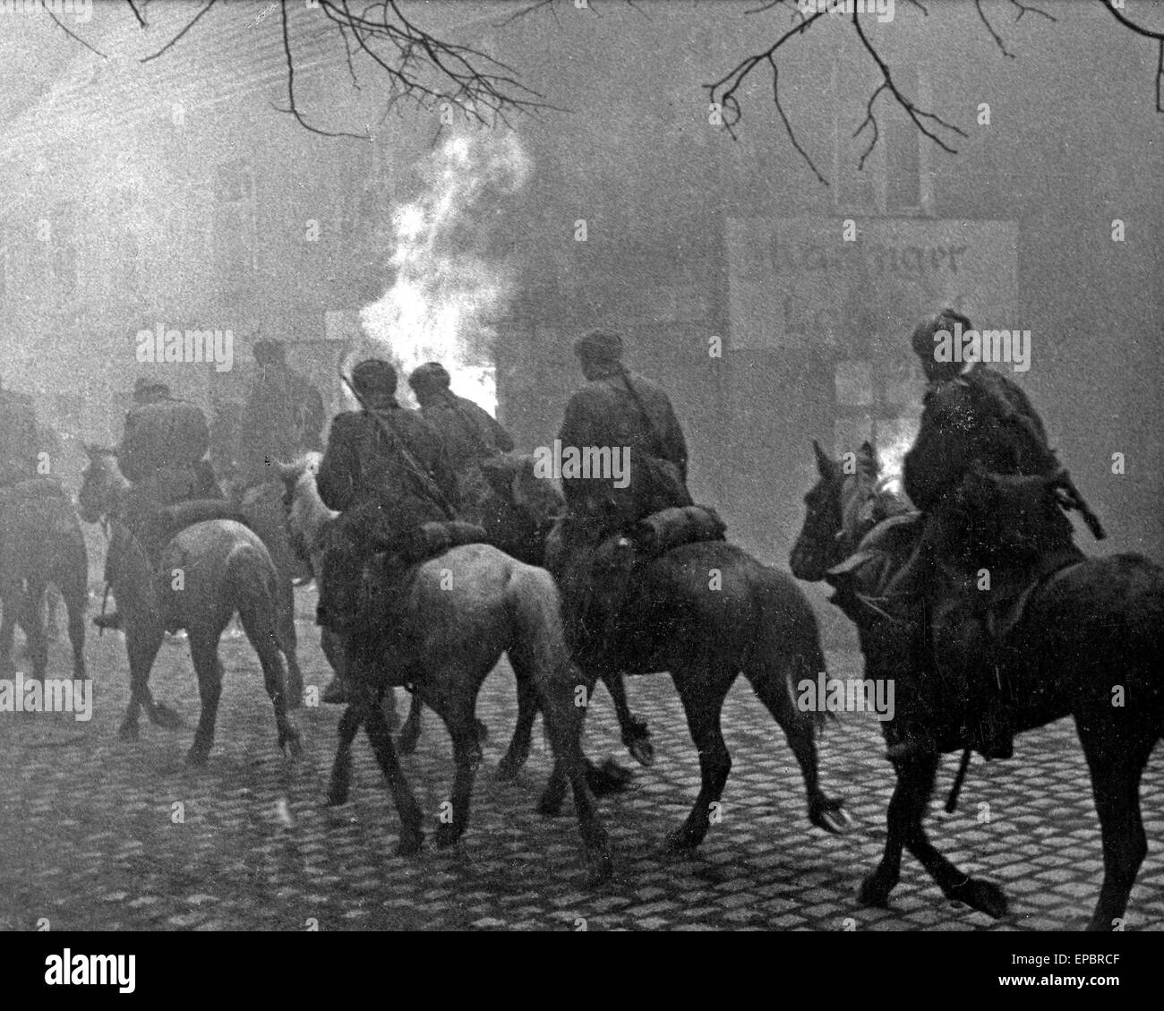 RED ARMY CAVALRY passing through a German town in 1944.Photo SIB - Stock Image