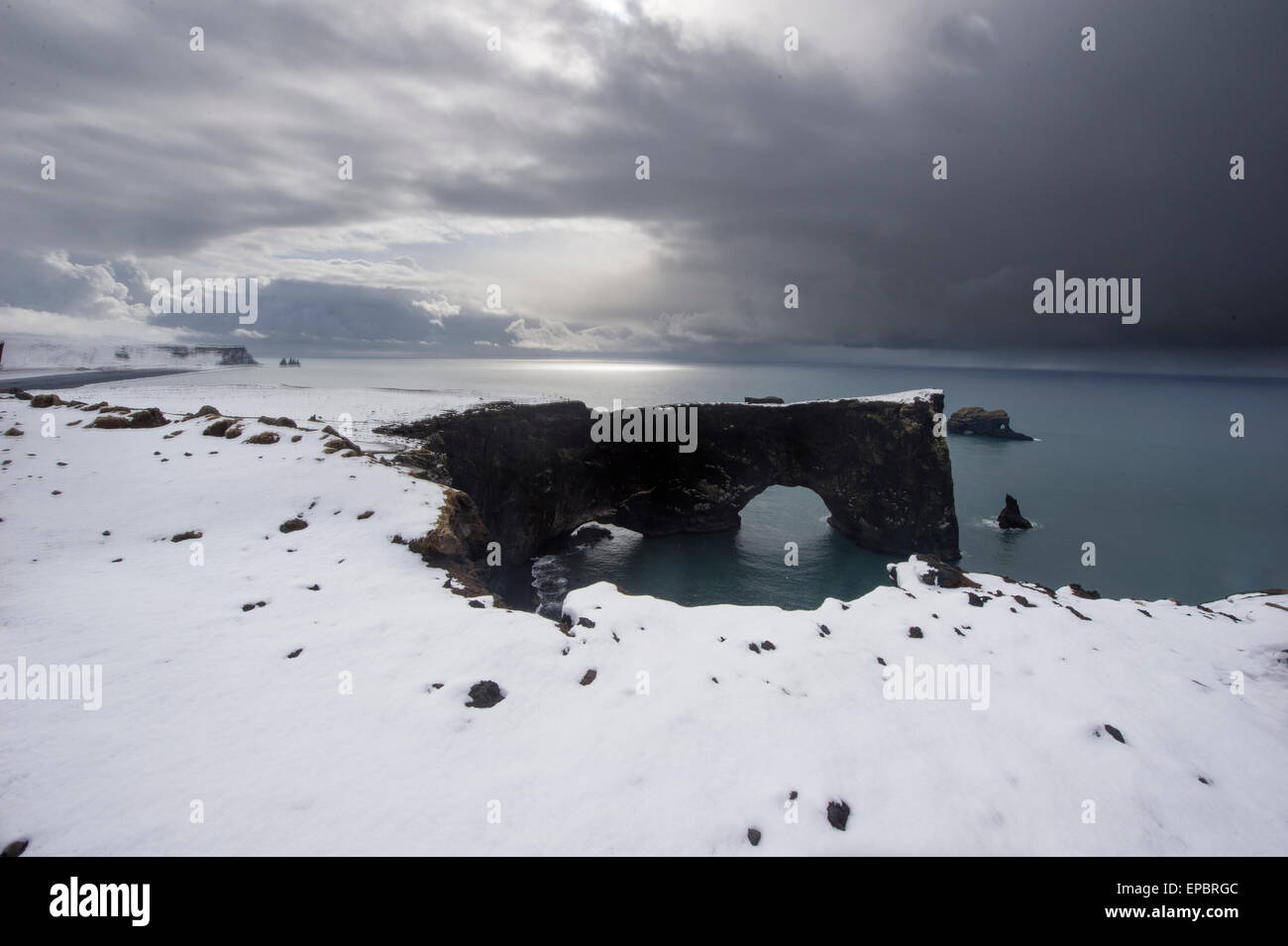 Iceland holiday and tourism pictures - Reynisdrangar sea stacks - Stock Image