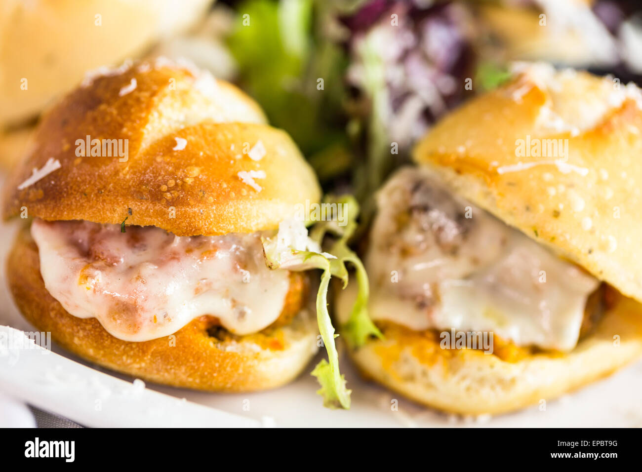 Fresh Italian Meatball Sliders On The Table In Italian Restaurant.