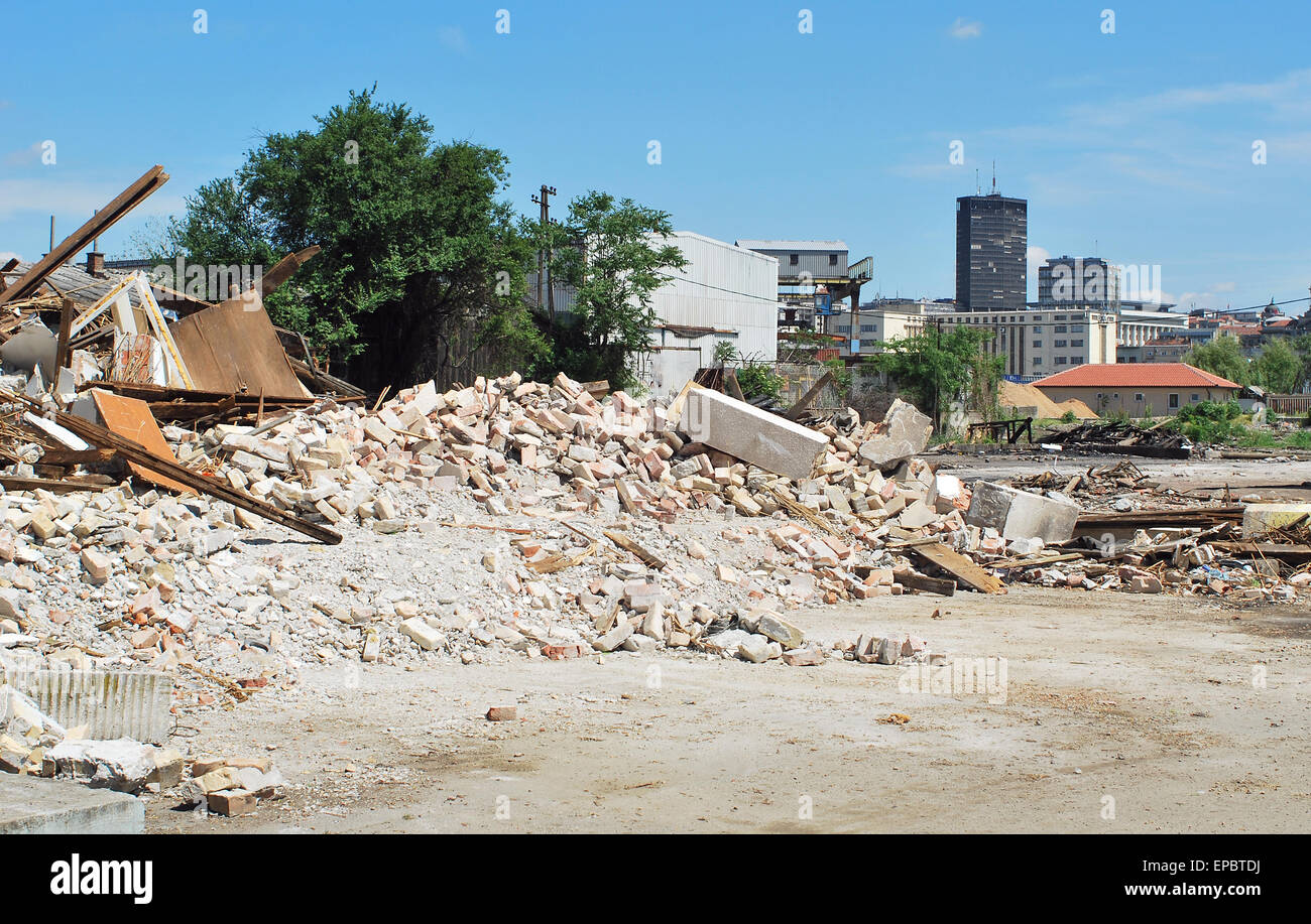 Start of constructing and build a waterfront of Belgrade Serbia - Stock Image