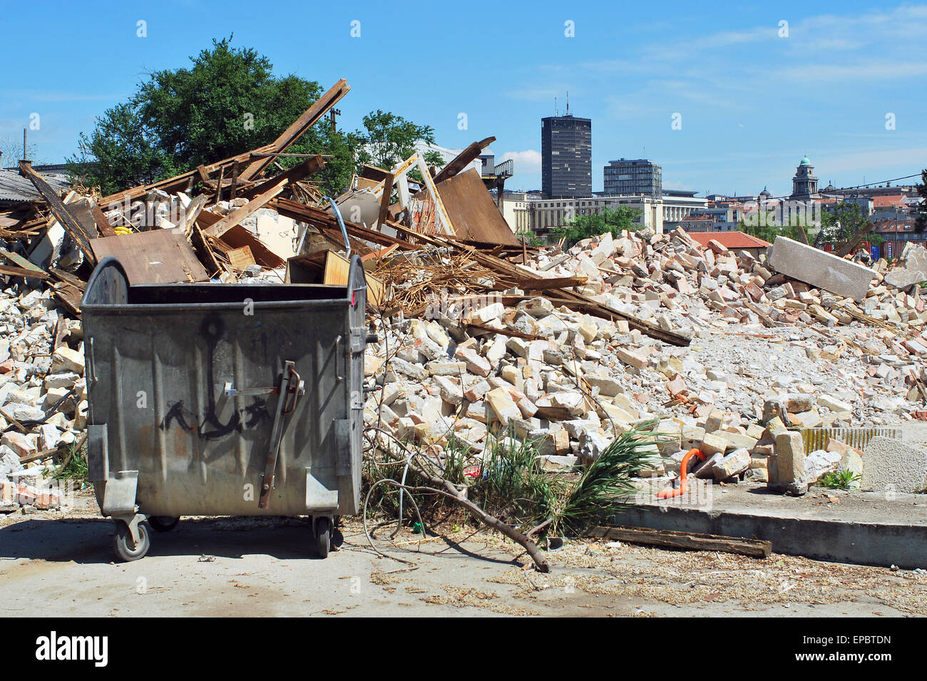 Starting works on the waterfront of Belgrade - Stock Image