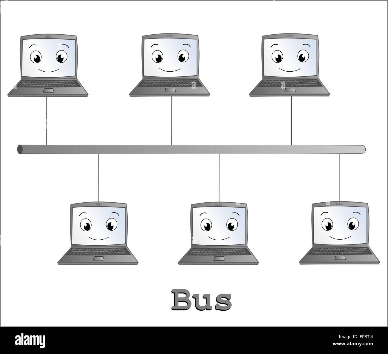 Bus network topology stock photos bus network topology stock bus network topology cartoon illustration stock image publicscrutiny Gallery