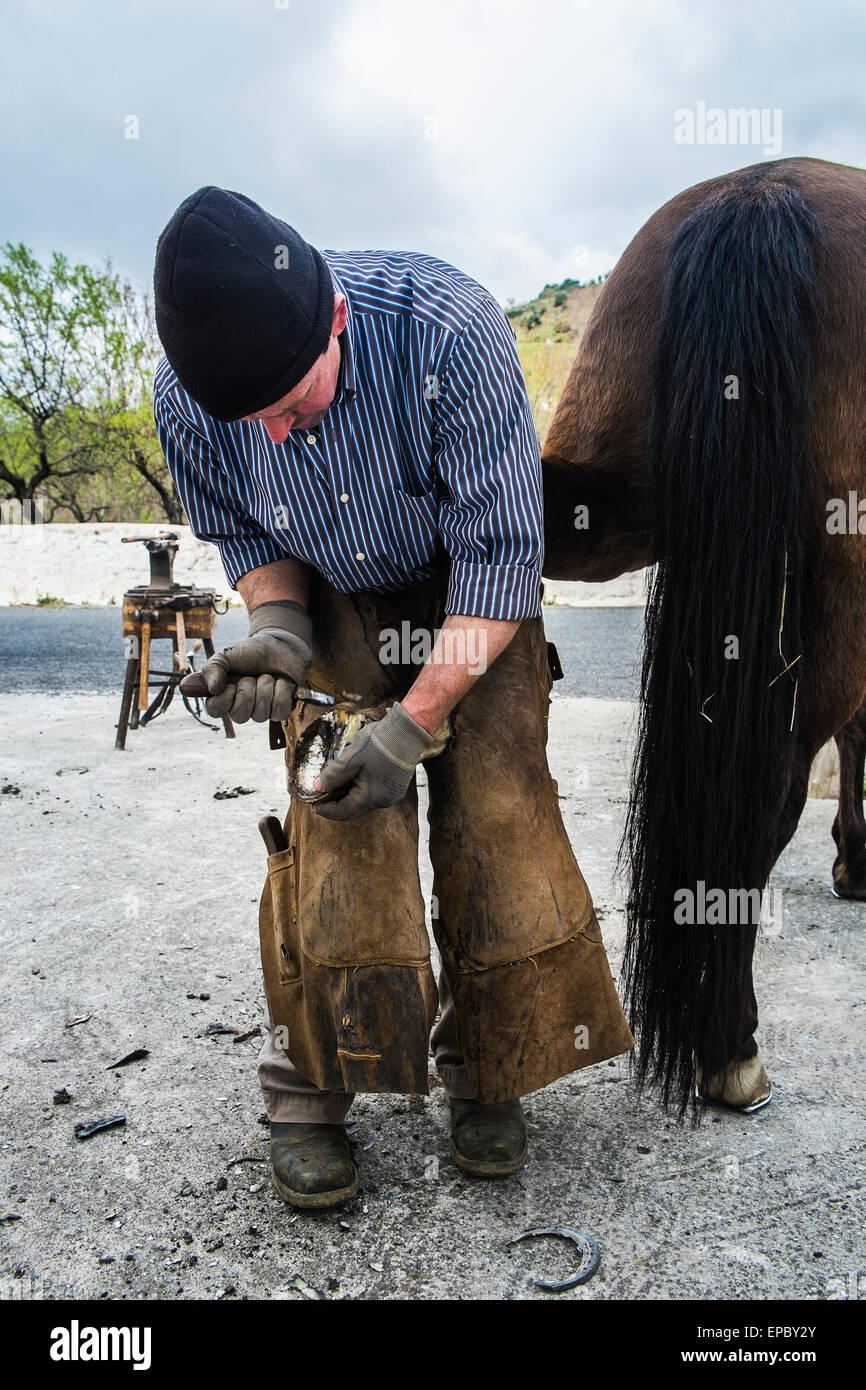 Shoeing a horse; Mecina-Fondales, La Alpujarra, Granada province, Andalusia, Spain - Stock Image