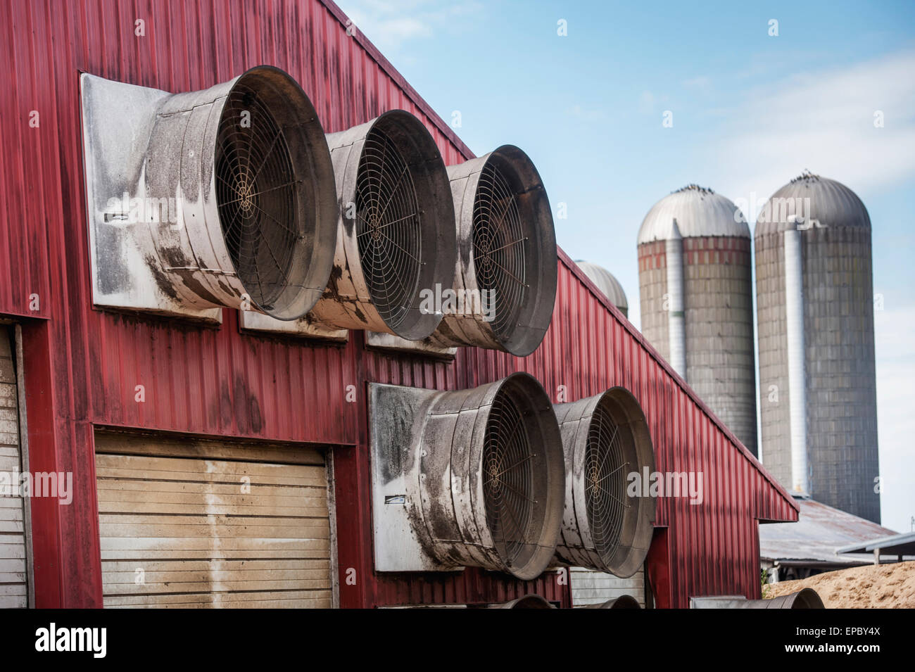 Ventilation fans on a farm building; Ridgley, Maryland, United States of America - Stock Image