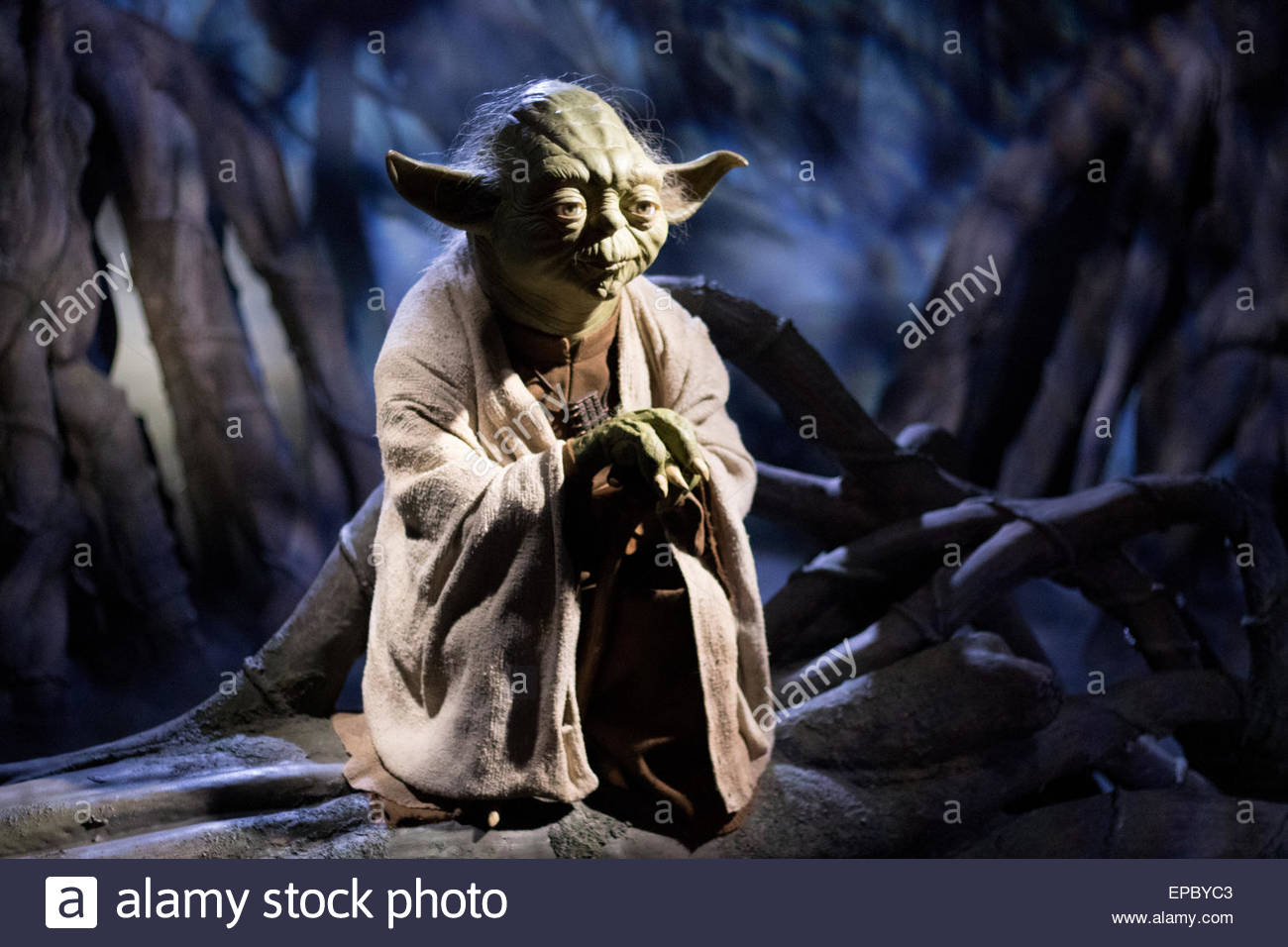 Puppet Yoda at Madame Tussauds London - Stock Image