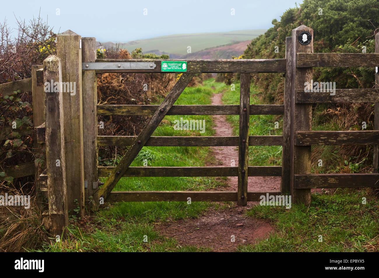 A gate along the Pembrokeshire Coast Path; Wales - Stock Image