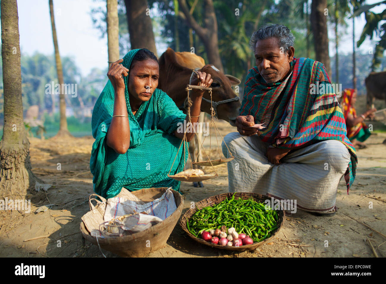 Couple selling vegetables kishoreganj bangladesh stock image