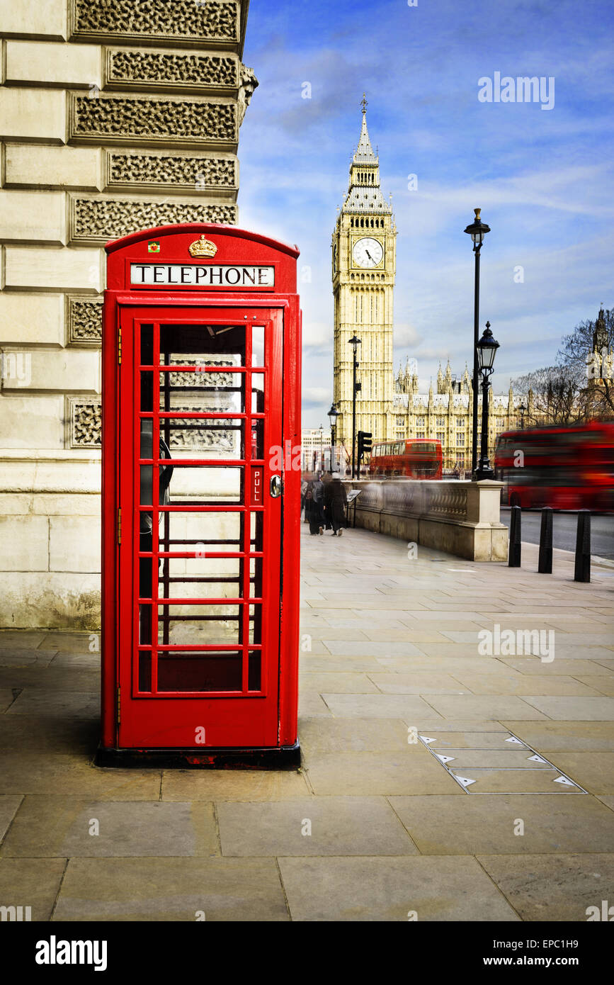 Red phone box with Big Ben, London. - Stock Image