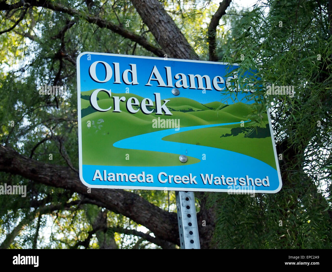 Old Alameda Creek Watershed sign, Union City, CA - Stock Image