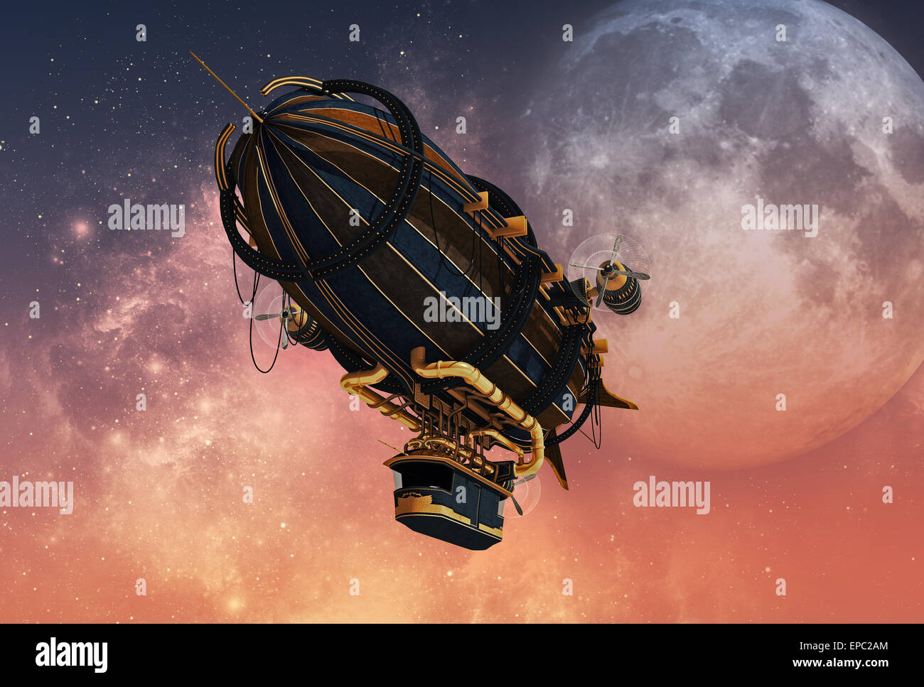 3d computer graphics of a Zeppelin in Steampunk style - Stock Image