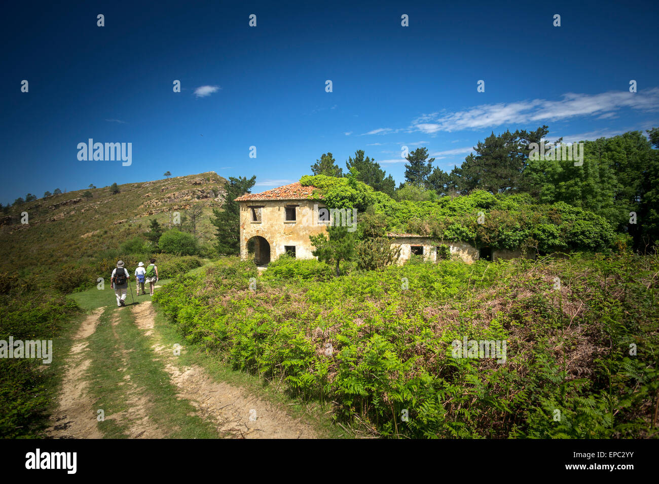 Hikers passing in front of an ivy-covered abandoned  house (Guipúzcoa - Spain). Randonneurs passant devant une maison Stock Photo