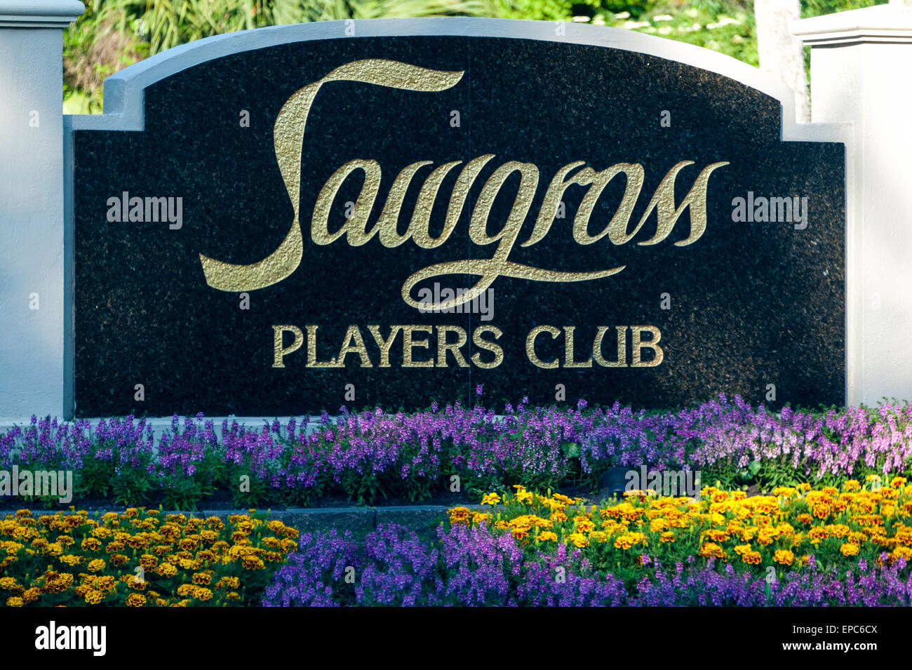 Sawgrass Players Club entry sign at TPC Sawgrass in Ponte Vedra Beach, Florida. USA. - Stock Image
