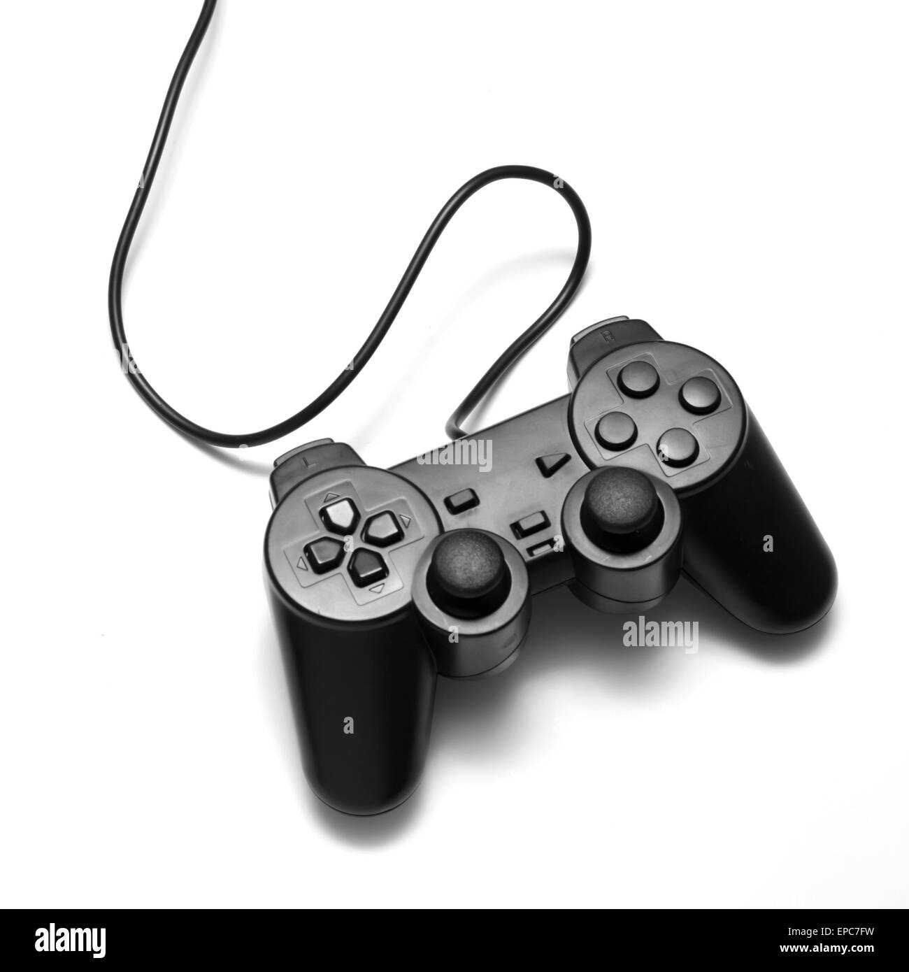 video game controller on a white background - Stock Image
