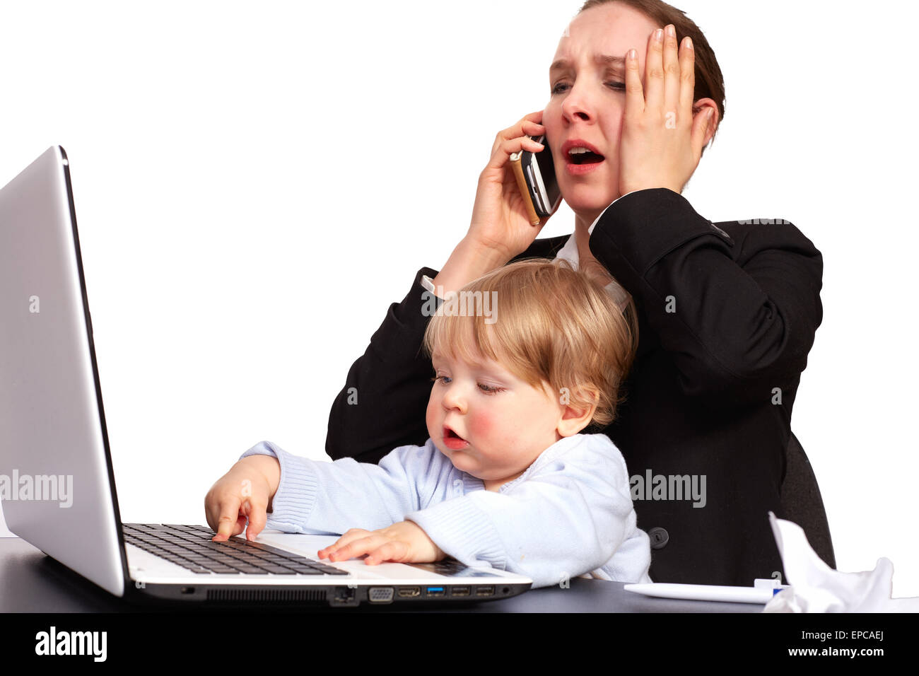 Mother and child at work - Stock Image