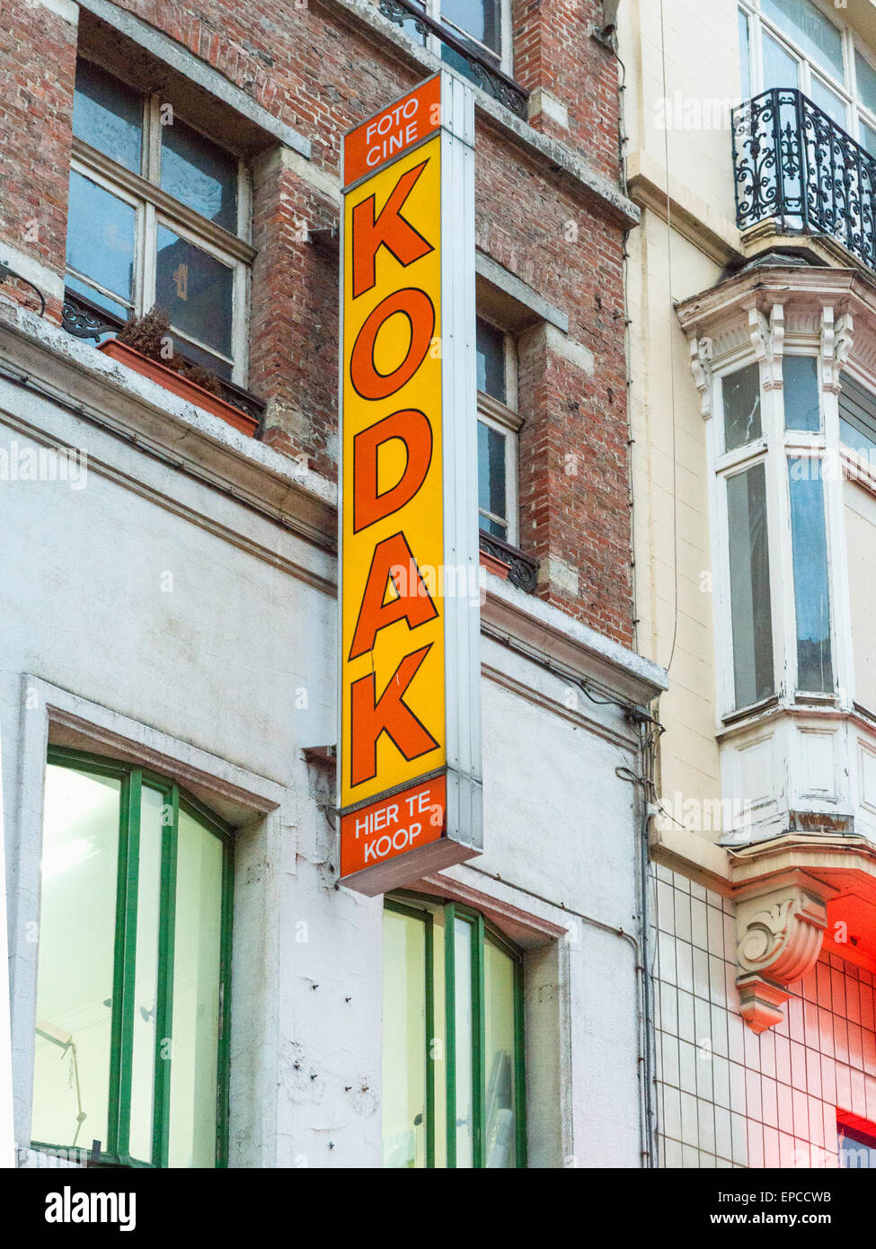 Vintage 'Kodak' sign at a photographic store in Brussels, Belgium. - Stock Image