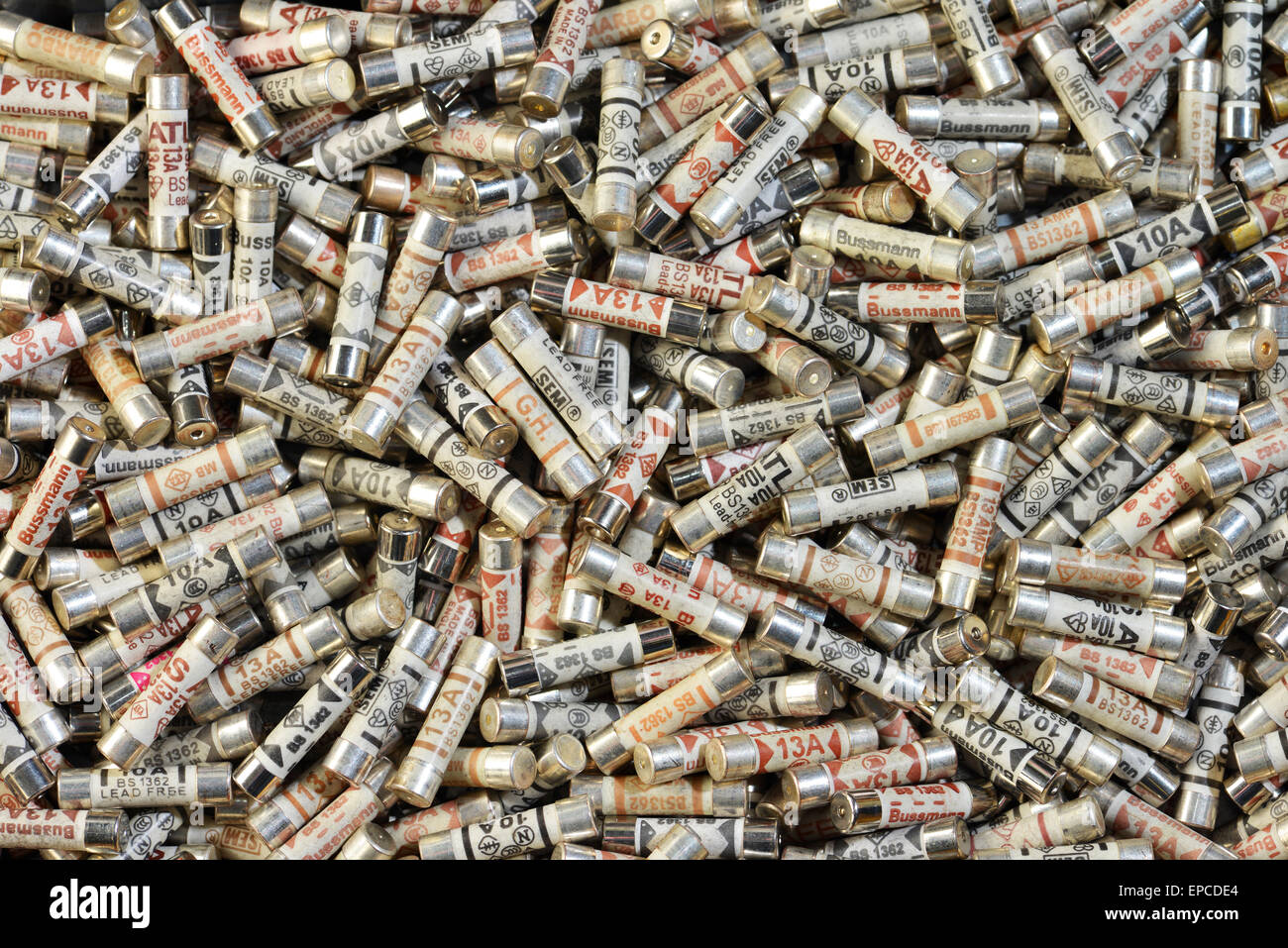 An assortment of electrical fuses - Stock Image
