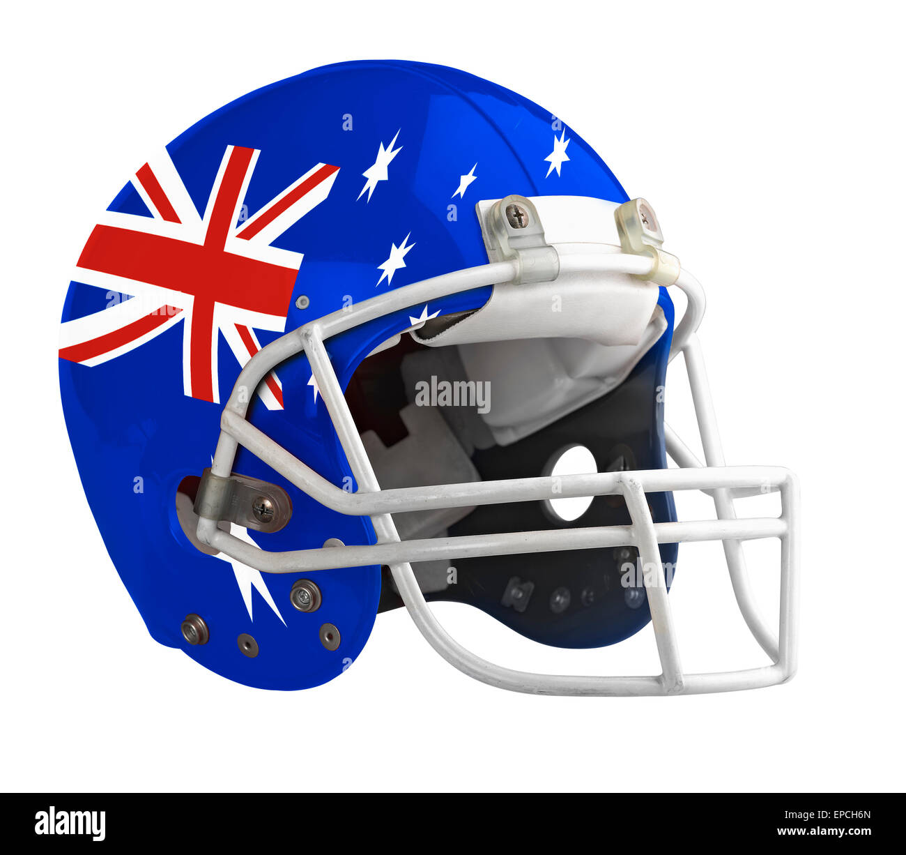 Flagged Australia American football helmet isolated on a white background with detailed clipping path. - Stock Image