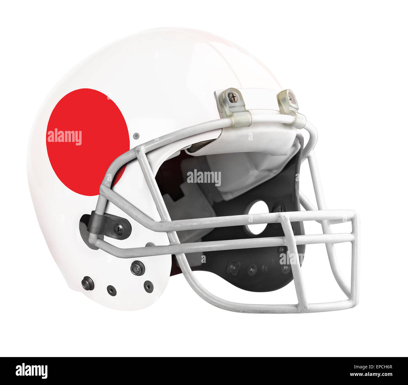 Flagged Japan American football helmet isolated on a white background with detailed clipping path. Stock Photo