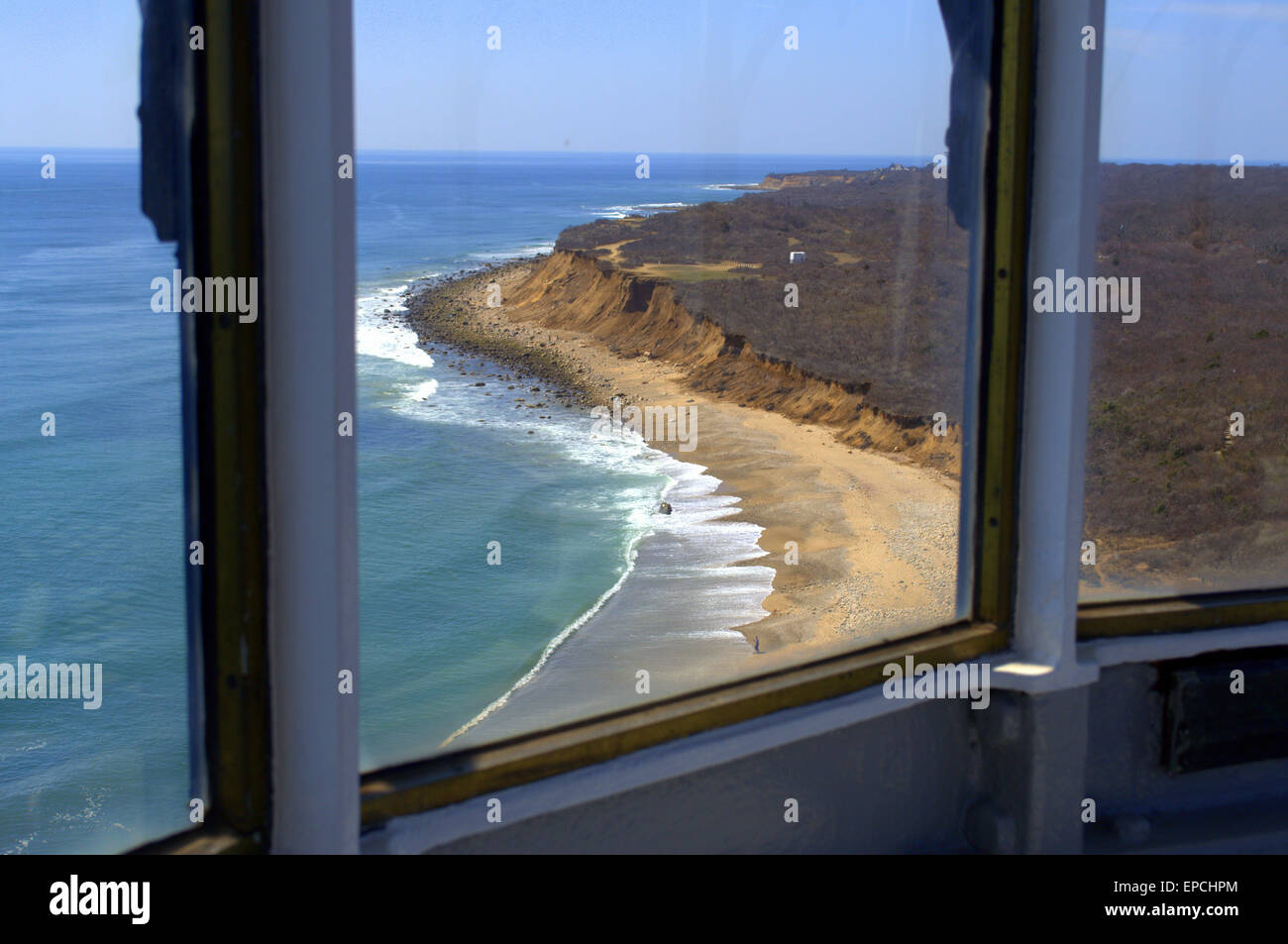 'From inside the Lantern Room', Montauk Point Lighthouse, Cliffs of Montauk NY 'The Hamptons' - Stock Image
