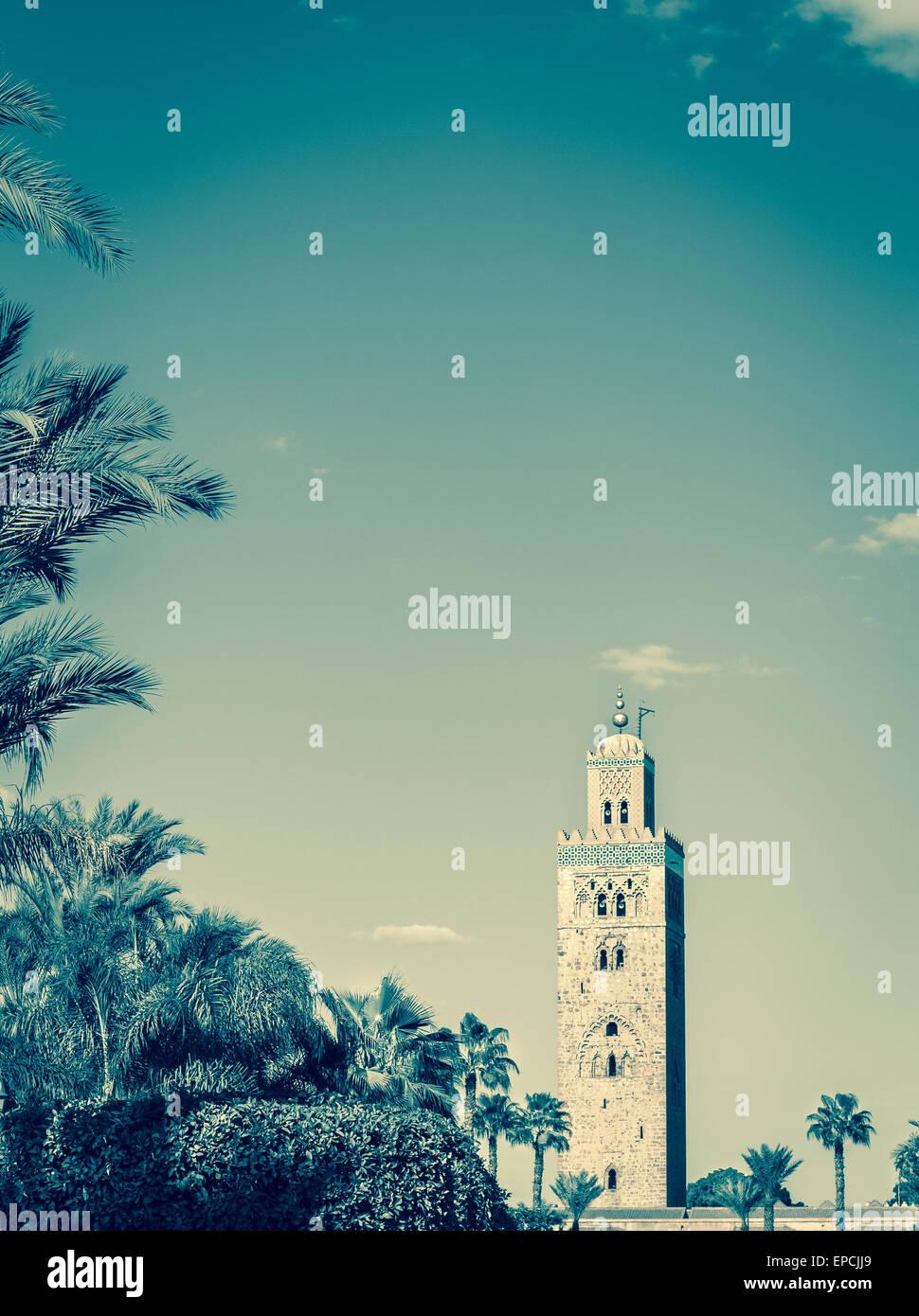 Retro style photo of Koutoubia Mosque Minaret in Marrakesh city, Morocco. Stock Photo