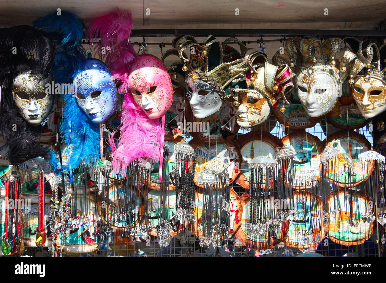 Decorative masks and souvenirs in Venice, Italy Stock Photo