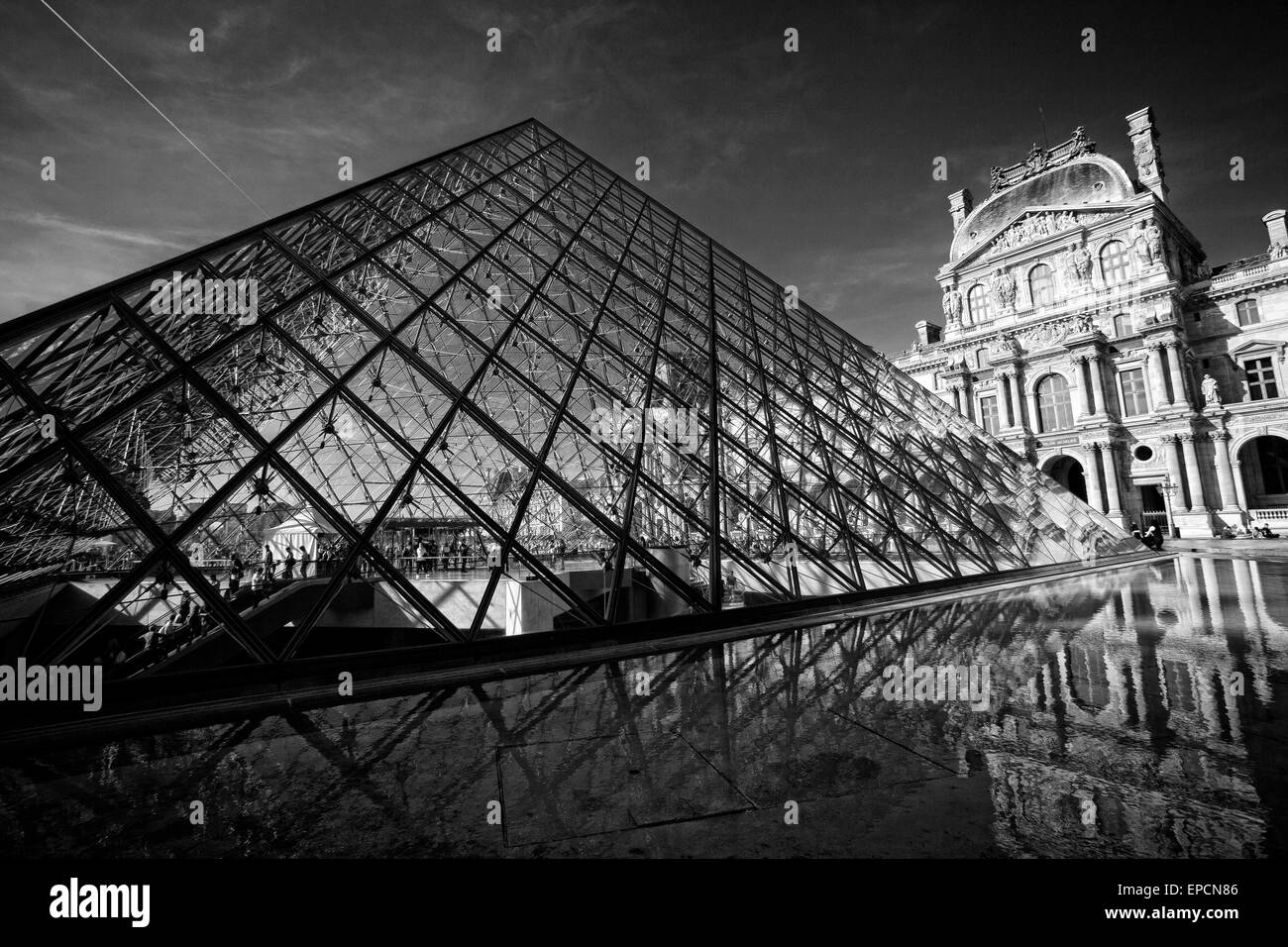 The center courtyard at the louvre museum in paris france stock image