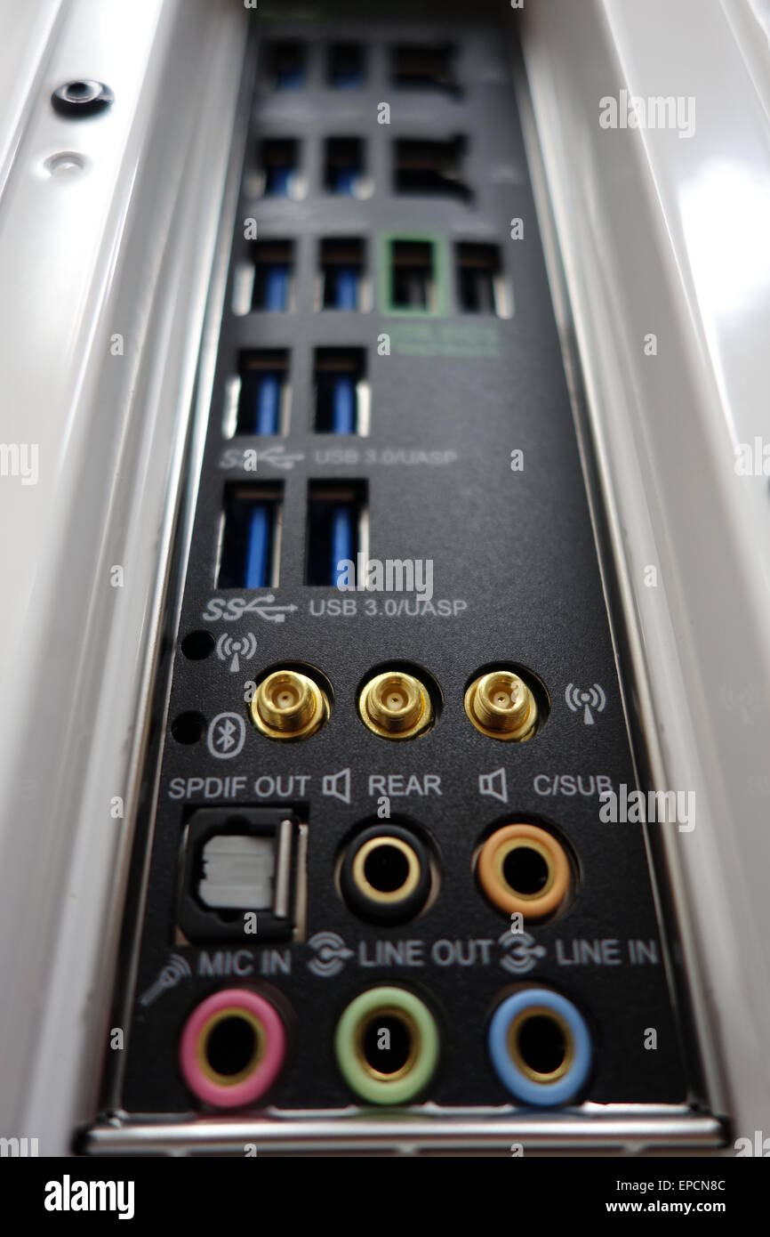Personal Computer (PC) back panel showing USB 3 ports. - Stock Image