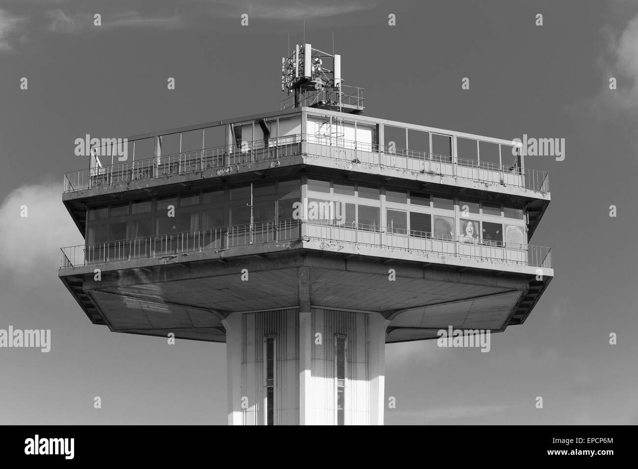 The Pennine Tower, part of Lancaster Services, opened 1965, designed by architects T.P. Bennett and Son. Monochrome - Stock Image