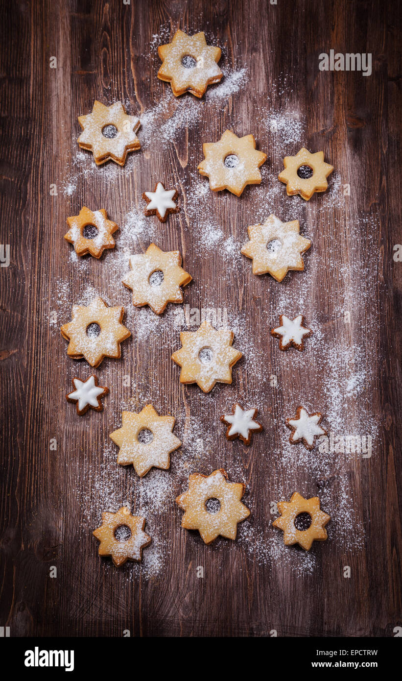Homemade cookies in star shape not only for Christmas - Stock Image