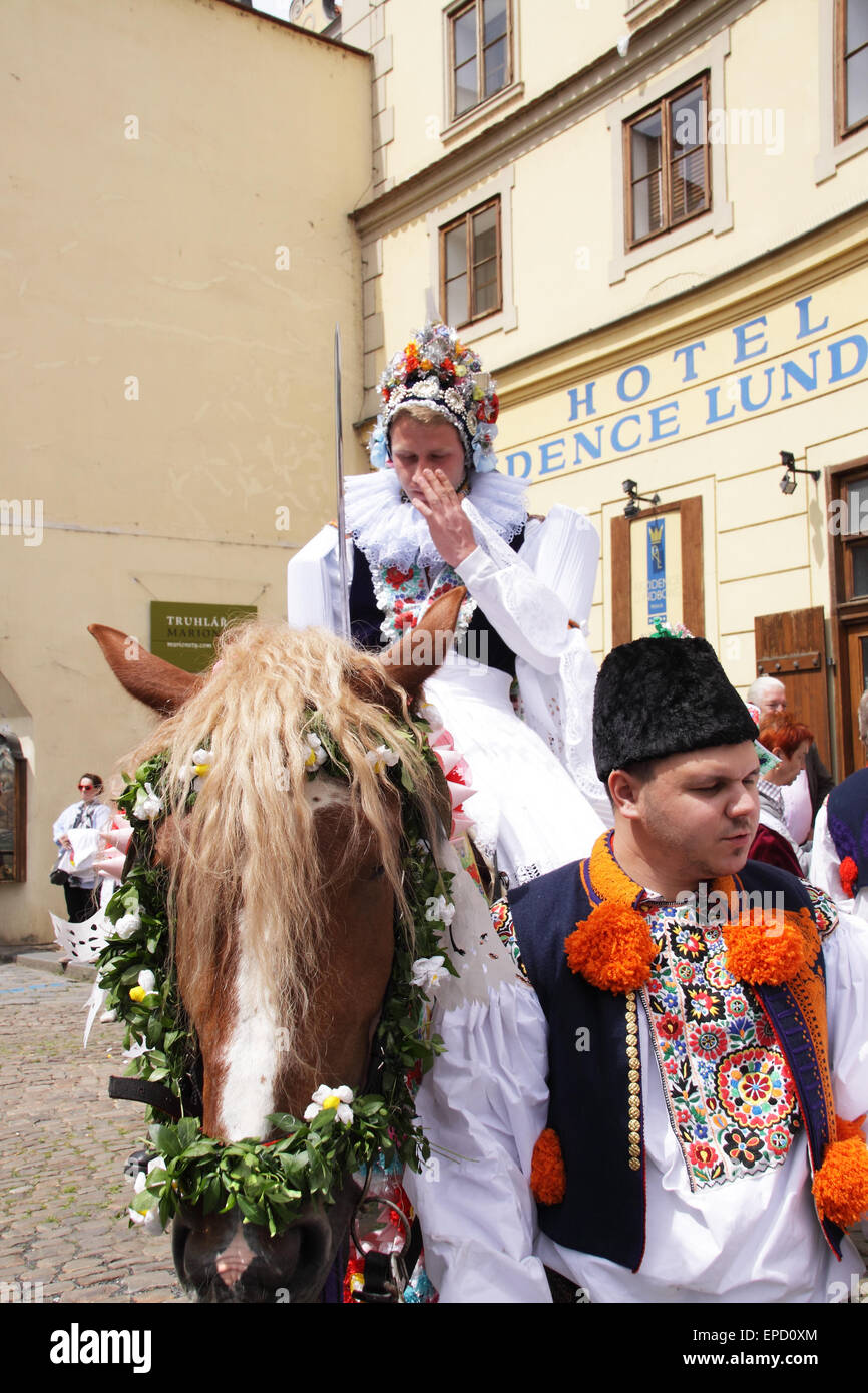 The Ride of the Kings takes place during the spring, as a part of the Pentecost traditions . A group of young men Stock Photo