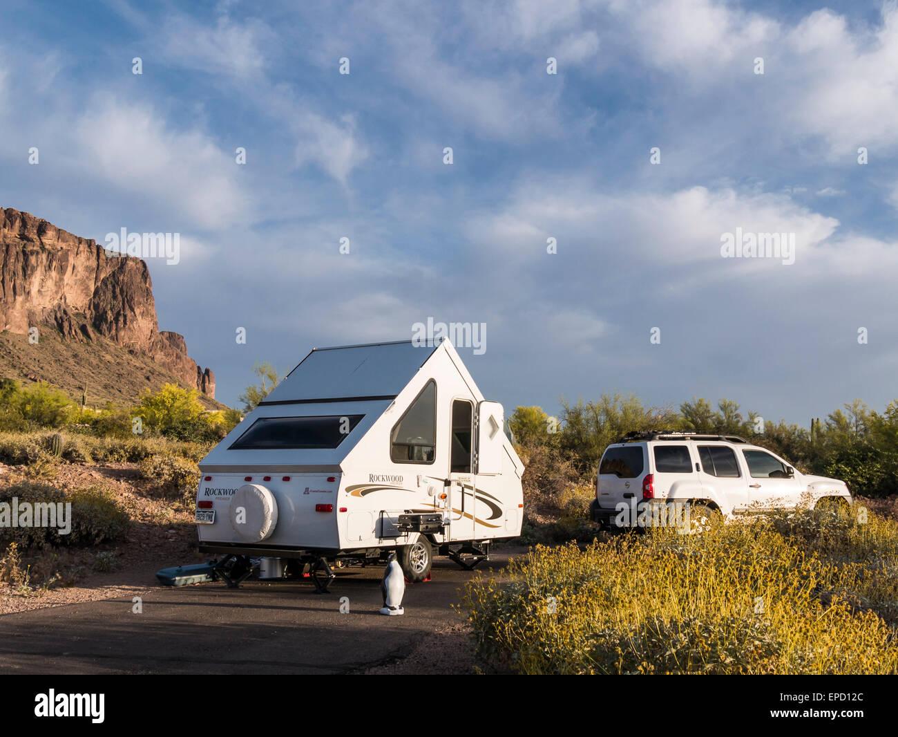 A-frame camper at campsite 32, Lost Dutchman State Park, Apache ...